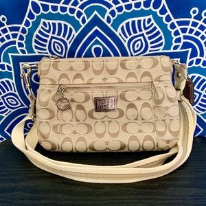 Coach Poppy Tan Lurex Crossbody Handbag